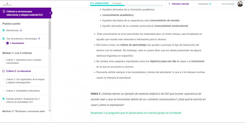 TEORÍA de formación Criterios y recursos para seleccionar y adaptar material ELE